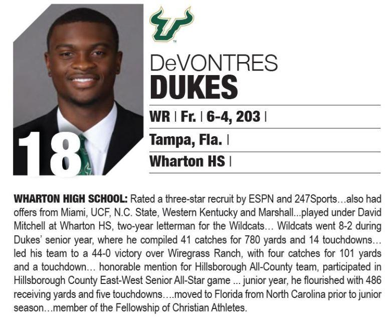 WR Devontres Dukes (Tampa, Fla.-Wharton HS) 2016 USF Football Media Guide Bio MJM (799x667)