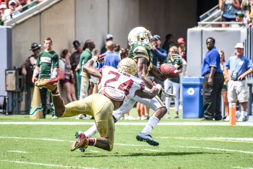 FSU vs USF 2016 78 - Rodney Adams would be touchdown pass from Quinton Flowers penalty Marcus Lewis by Dennis Akers (3157x2105)