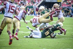 FSU vs USF 2016 88 - Travis Rudolph rushes up field Auggie Sanchez Ronnie Hoggins Devin Abraham by Dennis Akers (4512x3008)