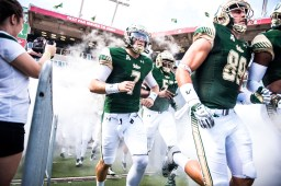 27 USF vs ECU 2016 - USF QB Brett Kean and TE Mitchell Wilcox exiting the tunnel (6016x4016)