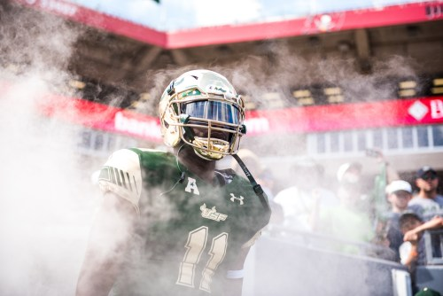 33 USF vs ECU 2016 - USF WR Marquez Valdes-Scantling exiting the tunnel by Dennis Akers | SoFloBulls.com