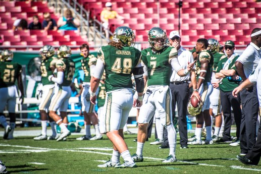 9 USF vs ECU 2016 - USF QB Brett Kean and FB Spencer Adkinson Pre-Game (5397x3603)