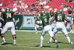 92 USF vs ECU 2016 - USF QB Quinton Flowers passing with OL Cameron Ruff and OL Dominique Threatt (5260x3511)