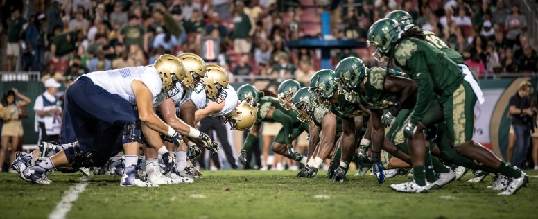 67 - Navy vs. USF 2016 - USF DL vs. Navy OL by Dennis Akers | SoFloBulls.com (5650x2306)