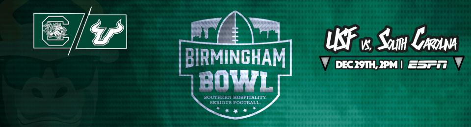 #BeatSC South Carolina vs. USF Football Birmingham Bowl 2016 Header Image | SoFloBulls.com