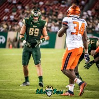 110 - Illinois vs. USF 2017 - USF TE Mitchell Wilcox DB Christion Abercrombie by Dennis Akers | SoFloBulls.com (3156x3156)