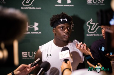 148 - USF vs. San Jose State 2017 - USF RB D'Ernest Johnson Post-Game Interview by Dennis Akers | SoFloBulls.com (6016x4016)