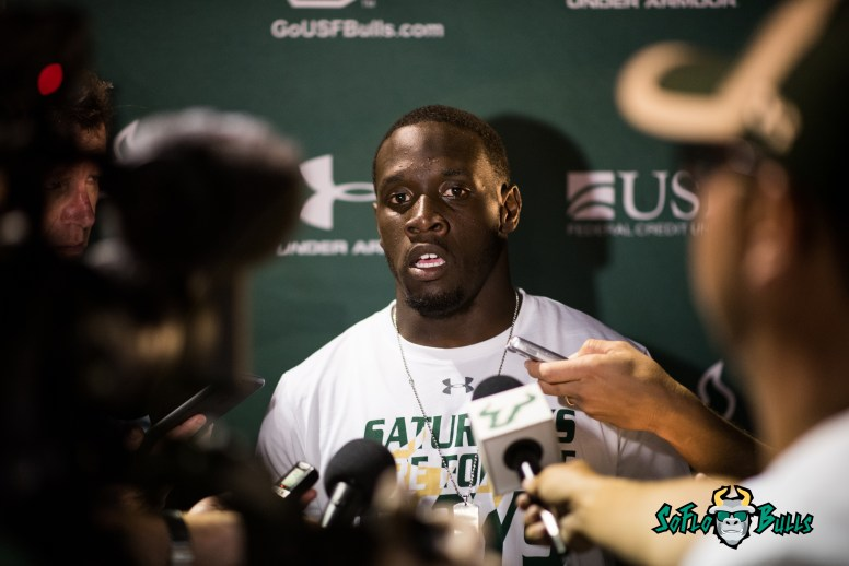 149 - USF vs. San Jose State 2017 - USF QB Quinton Flowers Post-Game Interview by Dennis Akers | SoFloBulls.com (6016x4016)