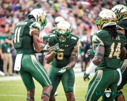 63 - Stony Brook vs. USF 2017 - USF WR Marquez Valdes-Scantling Tyre McCants Dice TD Celebration by Dennis Akers | SoFloBulls.com (4701x3761)