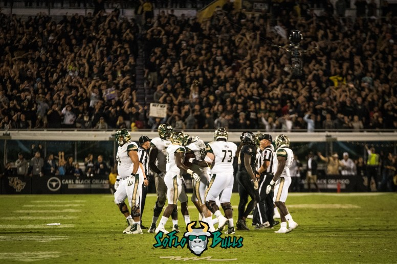 106 - USF vs. UCF 2017 - USF TE Mitchell Wilcox Cameron Ruff Greg Reaves Jeremi Hall Darius Tice Marcus Norman by Dennis Akers | SoFloBulls.com (4403x2939)