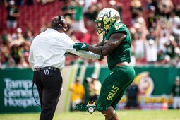137 - Georgia Tech vs. USF 2018 - USF WR Tyre McCants celebrates with Coach Charlie Strong by Dennis Akers | SoFloBulls.com (4291x3285)