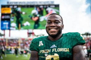 140 - Georgia Tech vs. USF 2018 - USF WR Tyre McCants Headshot on Raymond James Stadium Field by Dennis Akers | SoFloBulls.com (6016x4016)