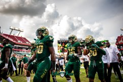 39 - Elon vs. USF 2018 - USF WR Terrence Horne Bentlee Sanders Davion Sutton by Dennis Akers | SoFloBulls.com (5142x3433)