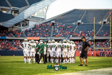 150 - USF vs. Illinois 2018 - USF Football Team on 50 at Soldier Field by Dennis Akers | SoFloBulls.com (6016x4016)