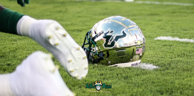 16A - USF vs. ECU 2018 - USF Football Gold Helmet on Raymond James Stadium grass by Will Turner | SoFloBulls.com (4159x2068)