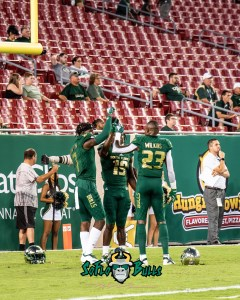 6 - USF vs. ECU 2018 - USF DB Mike Hampton Mazzi Wilkins Ronnie Hoggins by Dennis Akers | SoFloBulls.com (2735x3419)
