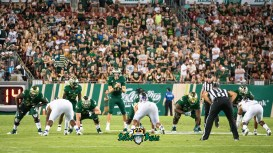 64 - USF vs. ECU 2018 - USF QB Blake Barnett on the line with crowd in background by Dennis Akers | SoFloBulls.com (4155x2337)