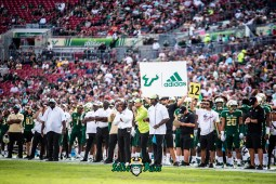 25 - Tulane vs. USF 2018 - USF Hhead Coach Charlie Strong and Brian Jean-Mary on the sideline by Dennis Akers | SoFloBulls.com (5448x3637)