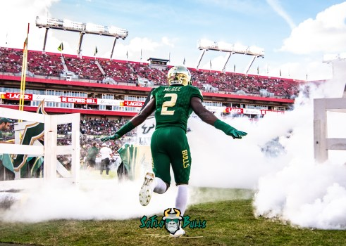 43 - UCF vs. USF 2018 - USF LB DB Khalid McGee Exiting Tunnel in Smoke by Dennis Akers | SoFloBulls.com
