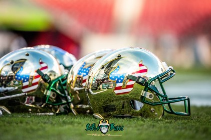 75 - Tulane vs. USF 2018 - USF Football Salute to Serice Gold American Flag Helmets on Raymond James Field by Dennis Akers | SoFloBulls.com (4454x2973)