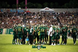 77 - UCF vs. USF 2018 - USF Football Team on Sideline with Coaches by Dennis Akers | SoFloBulls.com