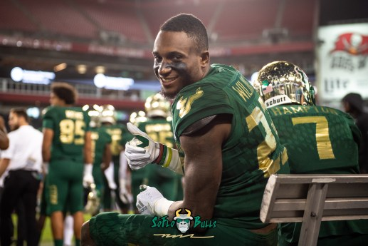 109 - Marshall vs. USF 2018 - USF DB Mazzi Wilkins thumbs up on bench by Dennis Akers | SoFloBulls.com