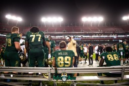 116 - Marshall vs. USF 2018 - USF TE Mitchell Wilcox Chris Carter Marcus Norman on bench by Dennis Akers | SoFloBulls.com