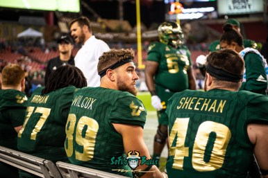 120 - Marshall vs. USF 2018 - USF TE Mtchell Wilcox Riley Sheehan on bench by Dennis Akers | SoFloBulls.com