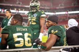 126 - Marshall vs. USF 2018 - USF DE Juwuan Brown Josh Black Vincent Jackson Jr by Dennis Akers | SoFloBulls.com