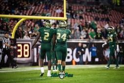 43 - Marshall vs. USF 2018 - USF LB Khalid McGee Nick Roberts by Dennis Akers | SoFloBulls.com