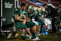 82 - Marshall vs. USF 2018 - USF DE Darrien Grant on Bench by Dennis Akers | SoFloBulls.com