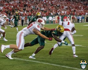 46 - Wisconsin vs USF 2019 - USF Player Tackles WR Aron Cruickshank C.J. Goetz by David Gold - DRG05327