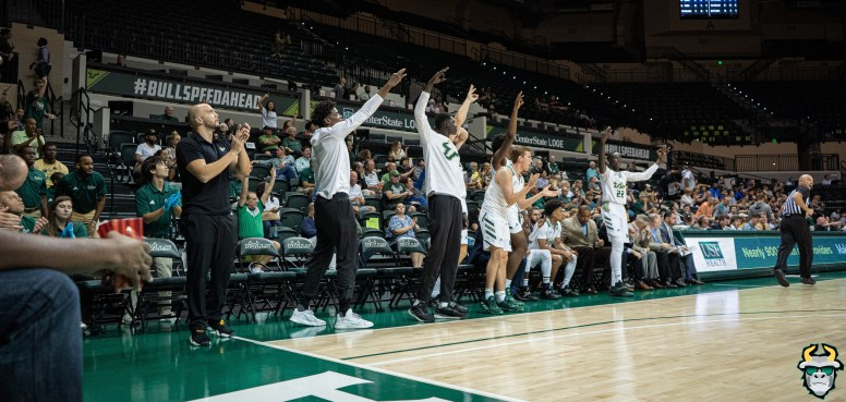 18 - St. Leo vs South Florida Men's Basketball 2019 - Bench Celebrates by David Gold - DRG02959
