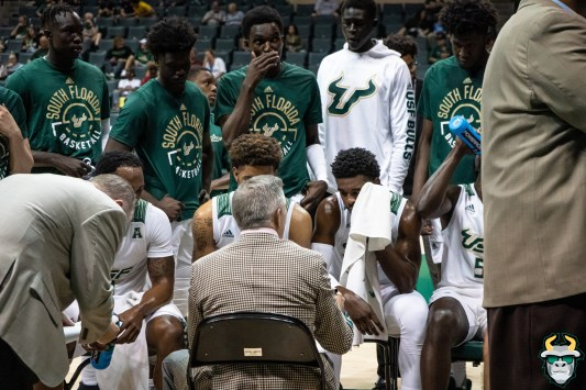 44 - St. Leo vs South Florida Men's Basketball 2019 - Team on Bench by David Gold - DRG02494