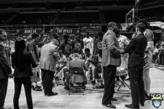 45 - St. Leo vs South Florida Men's Basketball 2019 - Team Huddles for timeout B&W by David Gold - DRG02498