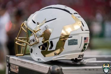 88 - Memphis vs. USF 2019 - White Chrome Big U Logo Helmet by David Gold - DRG04452