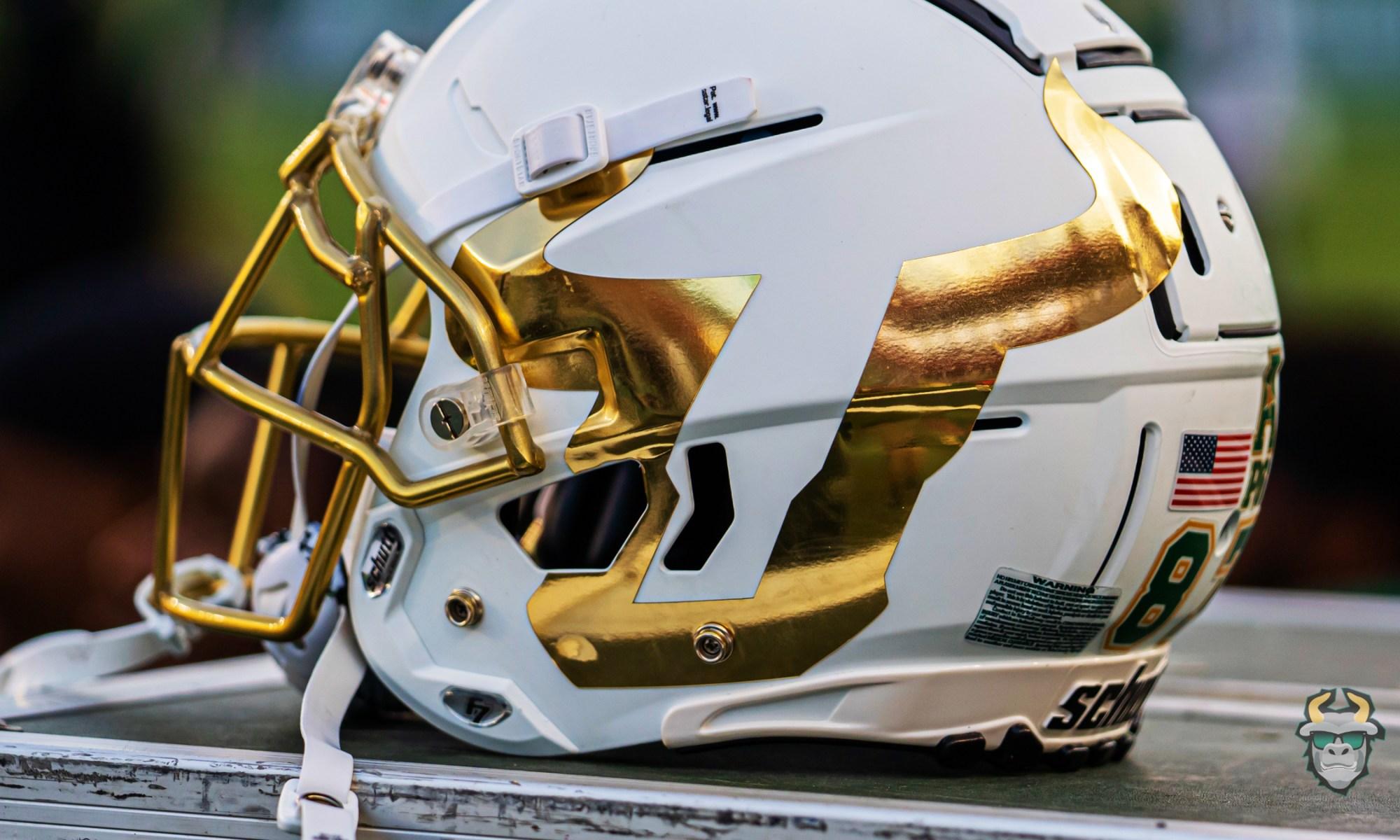 White USF Football Helmet with Gold U Logo