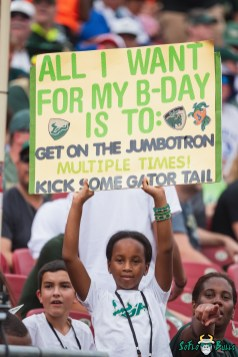 202 Florida vs USF 2021 - Bulls Fan in Crowd with All I Want For My Birthday is to Get on the Jumbotron DA