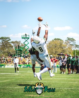 81 - USF Spring Game 2018 - USF WR Tyre McCants Nate Ferguson by Dennis Akers - SoFloBulls.com (2544x3180)