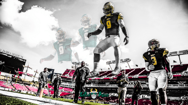 SoFloBulls.com #Glock9 South Florida QB Quinton Flowers Highlights 2017 YouTube Cover Image Yellow Red Blend Yellow QF (1920x1080)