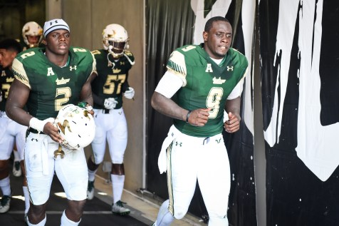 FSU vs USF 2016 81 - Quinton Flowers Nigel Harris D'Ernest Johnson exit the Tunnel by Dennis Akers (3935x2623)