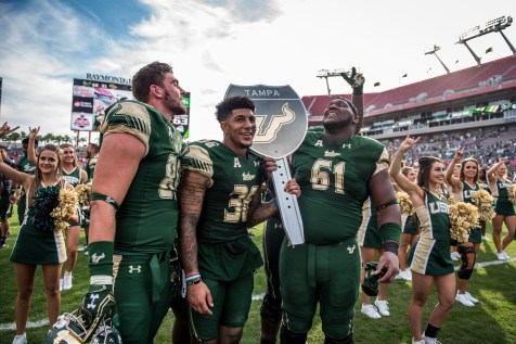 100 - USF vs. UCF 2016 - USF S Nate Godwin TE Mitchell Wilcox OL Dominique Threatt holding #WarOnI4 Trophy by Dennis Akers | SoFloBulls.com (5791x3866)
