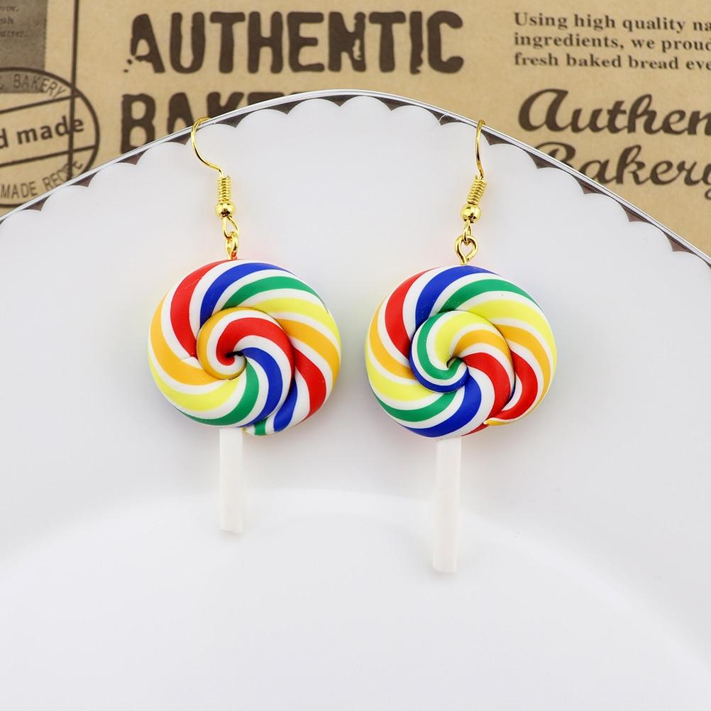 Earring For Women Soft Clay Rainbow Lollipop Drop Earrings Children Jewelry Custom Made Handmade Cute Girls Cotton Candy Gift