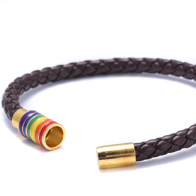 8 Colors Genuine Leather Braided Bracelet For Gay Lesbian Pride LGBT Rainbow Magnetic Charm Bracelet Men Women Lover Couple Gift