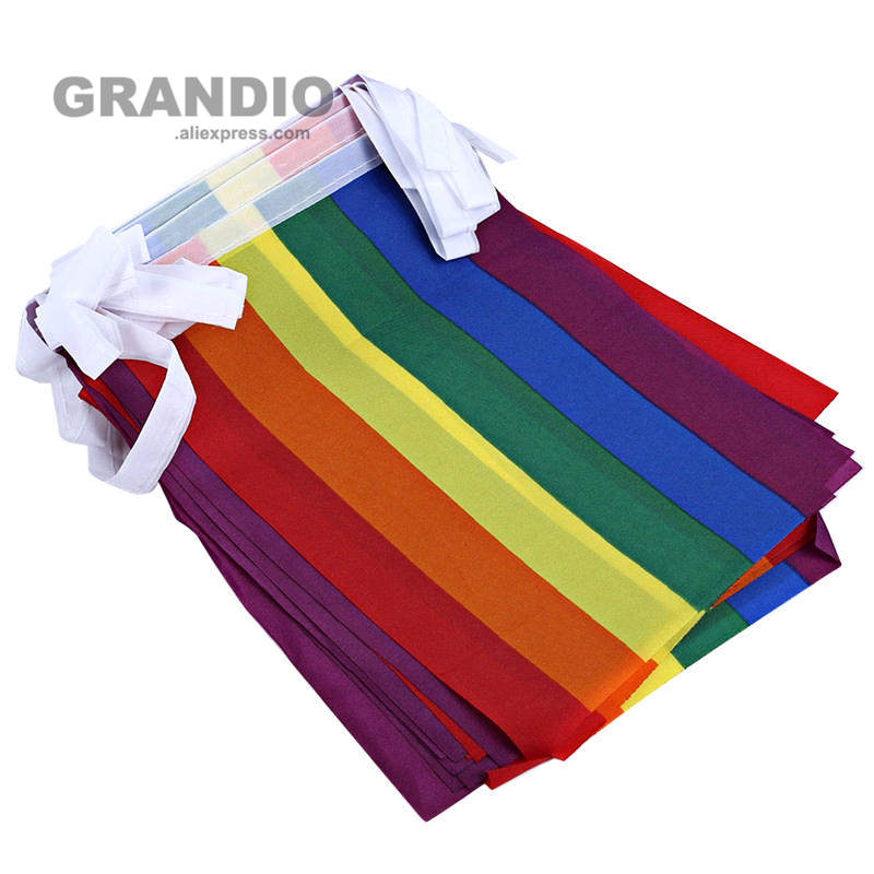 Hanging LGBT Flag Lesbian Gay Bisexual Tansgender Pansexual 15PCS 14x21cm Polyester 5M Decorative Rainbow Flags and Banners
