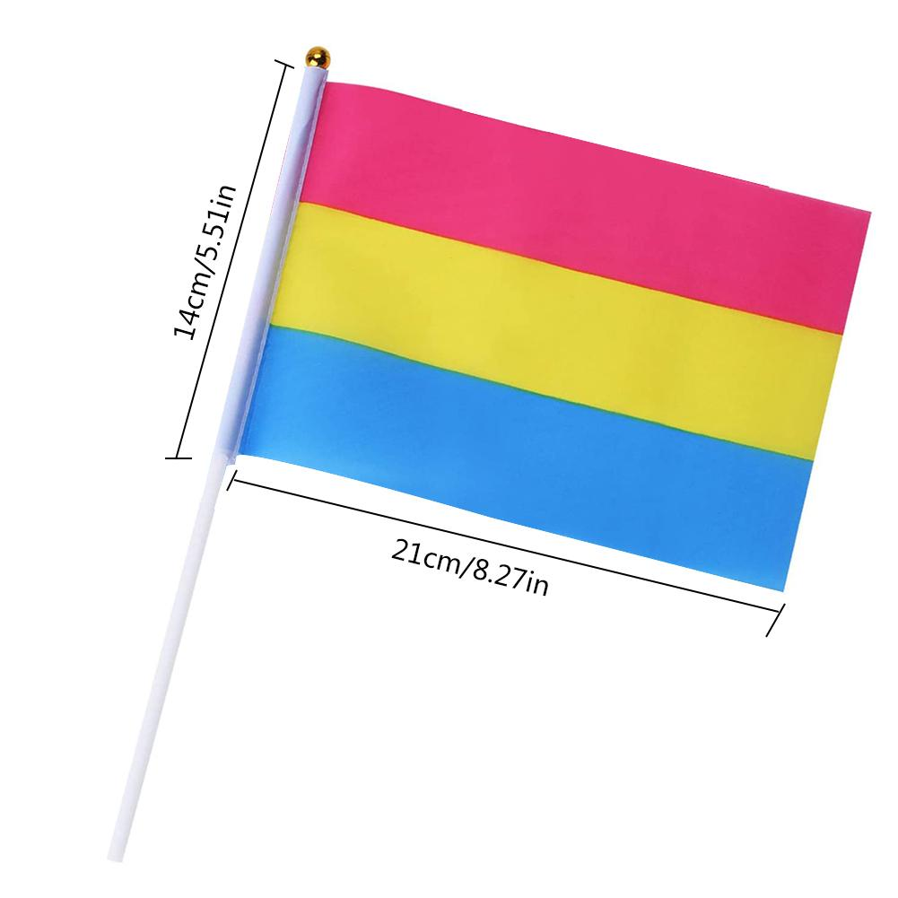 10PCS/Pack 14*21CM Gay Pride Flags Easy To Hold Mini Small Rainbow Flags With Flagpoles Home Decor Gay Friendly LGBT Flag