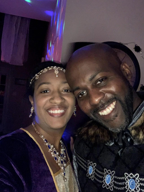 Ethnic couple in renaissance period attire