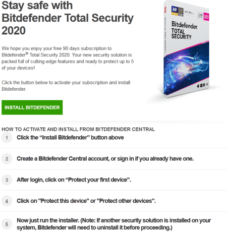 Bitdefender Total Security 2020 Free Trial for 90 Days
