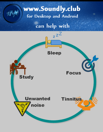 Soundly.club - Ambient Sounds Overview - Soundly.club can help with sleep, study, focus, unwanted noise and tinnitus - Picture