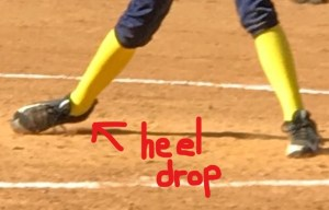 Dropping heel on drag foot acts like an anchor and slows a pitcher down.